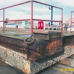 pontoon before treatment using Aquasteel rust converter